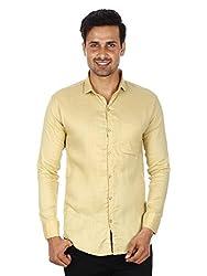 Strak Yellow Cotton Shirt For Men Size:- M