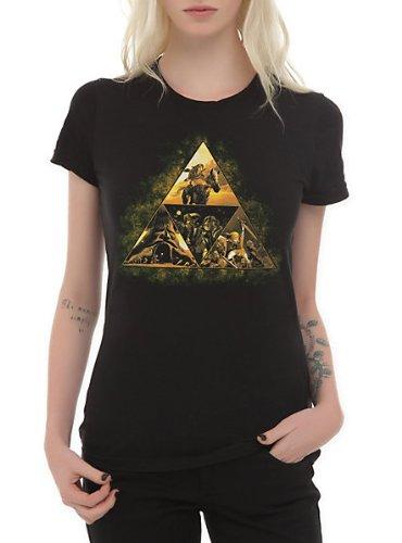 並行輸入品 ゼルダの伝説 オカリナ Tシャツ 女性用 Nintendo The Legend Of Zelda: Ocarina Of Time 3D Triforce Story Girls T-Shirt (L)