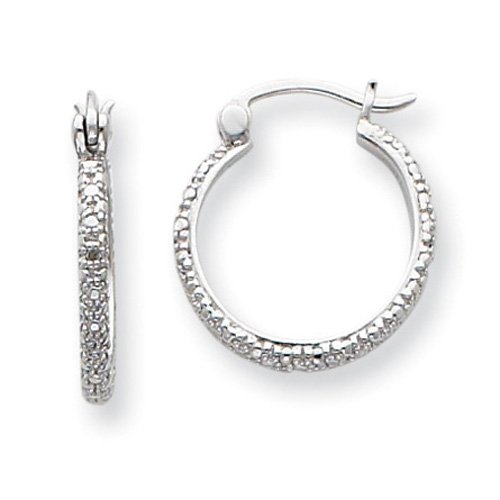 Sterling Silver Diamond Hoop Earrings