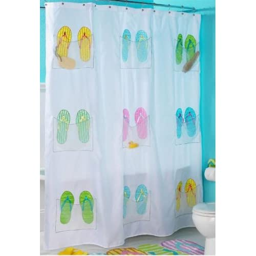 Amazon.com - Embroidered Flip Flop Shower Curtain with 9 storage ...