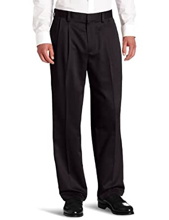 Dockers Men's Never-Iron Essential Relaxed Fit Pleated Cuffed Pant, Black, 29x32