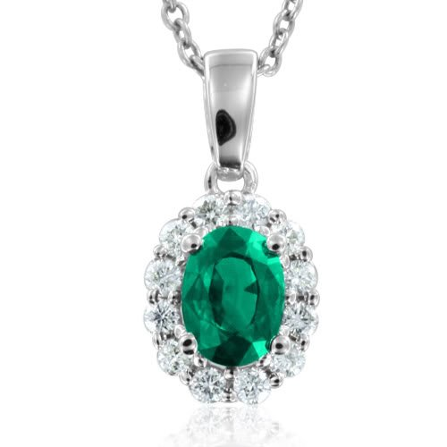 Natural Emerald and Diamond Necklace in 18k White Gold (G, SI2, 1.20 cttw) Certificate of Authenticity