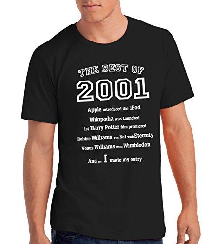 """Maglietta da Uomo """"The Best of 2001"""" - Regalo di Compleanno Per 15 Anni"""