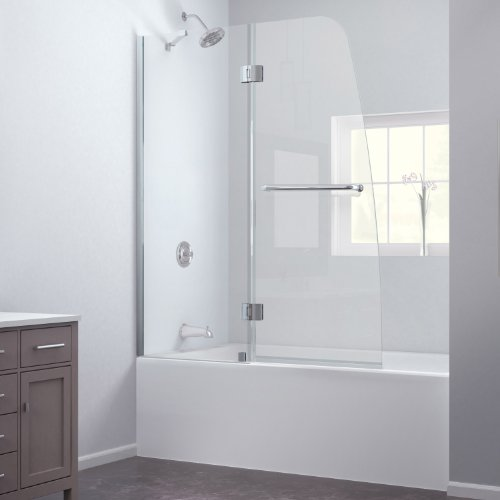 Best Review Of DreamLine Aqua 48 in. Frameless Hinged Tub Door, Chrome Finish, SHDR-3148586-01