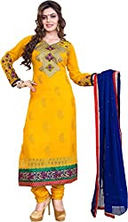 Cool women's Georgette Embroderied Unstitched Dress Material -1028_Yellow_Freesize