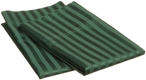 Impressions Genuine Egyptian Cotton 400 Thread Count King Pillowcase Pair Stripe, Hunter Green back-1006445