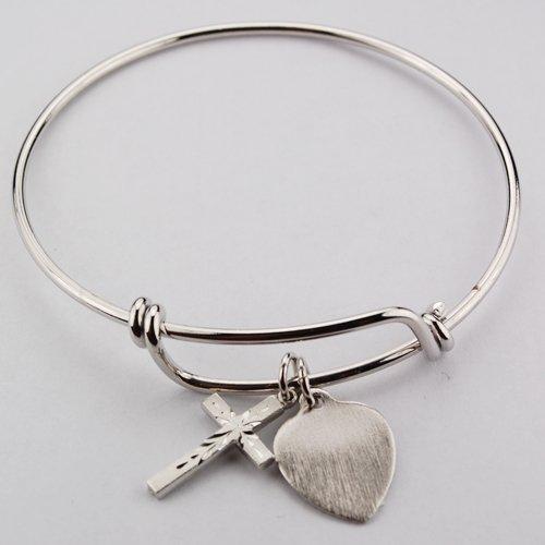 """Womens Jewelry, Catholic Womens Bracelet, Religious Bracelet, Silver, Dangling Heart Charm & Cross Medal Charm Pewter Faith Bangle Bracelet Faith 2 3/4"""" Diameter"""