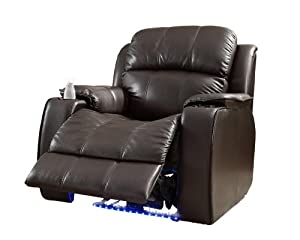Homelegance 9745BRW-1 Jimmy Collection Upholstered Power Reclining Massage Chair, Brown Bonded Leather
