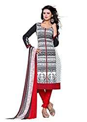 SayShopp Fashion Women's Unstitched Regular Wear Cotton Printed Salwar Suit Dress Material (ZDM-33_White,Black,Red_Free Size)