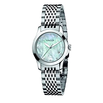 Gucci Women's YA126504 G-Timeless Diamond Marker White MOP Dial Watch by Gucci