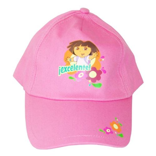 New Dora The Explorer Pink Hat With Flowers Super Cute Cap front-1020768