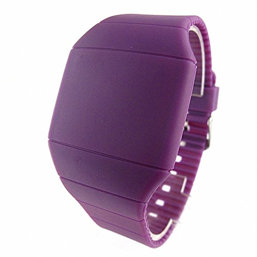Youyoupifa Touch Screen Red Digital Light Unisex Plastic Led Watch (Purple)