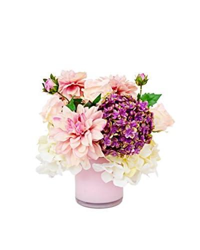 Creative Displays Inc Dahlia and Mixed Hydrangea Floral Pot, Pink/Purple/Creme