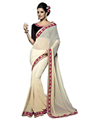 Designer Fabulous Cream Border Worked Faux Georgette Saree By Triveni
