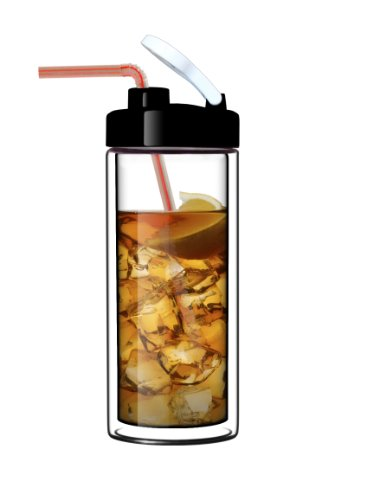 Sun's Tea (TM) 18oz Ultra Clear Double-Wall Glass Travel Mug with Flip-on Drinkhole Lid (made of real borosilicate glass) (Glass Travel Coffee Mug compare prices)
