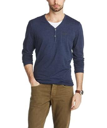 Esprit - t-shirt à manches longues - uni - homme - Bleu (Indigo) - FR: Small (Taille fabricant: XS)