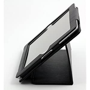 AYL Leather Case Folio 3-in-1 built-in Stand with Stylus Pen Holder for Ipad 2 -Black
