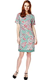 Slash Neck Paisley Print Tunic Dress