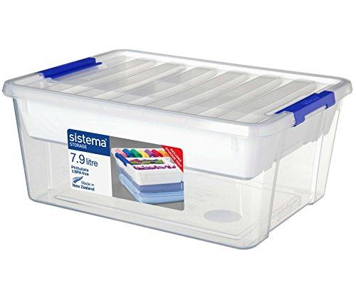 Sistema Storage Contenitore, Polipropilene, con Vassoio, Plastica, Trasparente, 7.9 litri