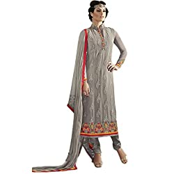 Latest Wize Grey Straight Cut Embroidered Georgette Party Dress Material with Chiffon Dupatta
