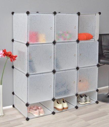 Armadio completo di vani per le scarpe, mobiletto da bagno, armadio da cameretta, con 9 scomparti, in bianco trasparente