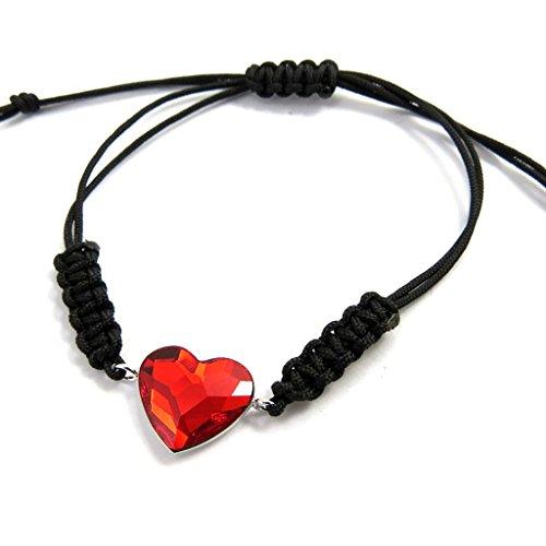Silber-armband 'Love'schwarz rot