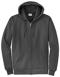Port & Company Classic FullZip Hooded Sweatshirt-L (Charcoal),4X Big,Charcoal