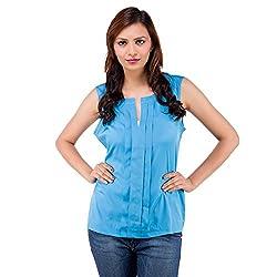 Centiaro Women's Casual Wear Blue Poly Cotton Top
