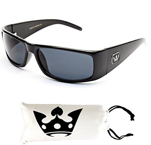 T011-cp Triple Crown Sunglasses w/ Custom Pouch (FC Black, mirrored)
