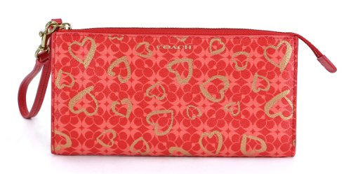 Coach   Coach Box Program Hearts Zippy Wallet Brass/Love Red Multicolor