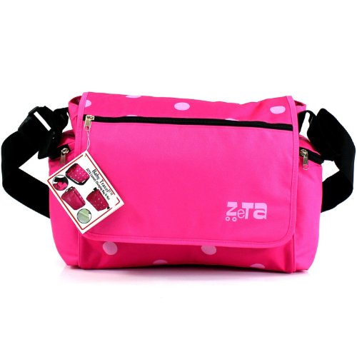 Zeta Luxury Complete Changing Bag with Changing Mat (Pink Dots, Large)