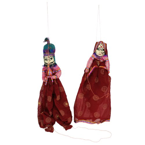 Marionette ornament rag dolls Indian puppets on string - 1