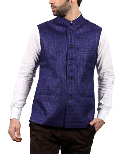 SOLEMIO Men Poly Cotton Ethnic Jackets (A15JK5501ENV_XL_NV_X-Large)
