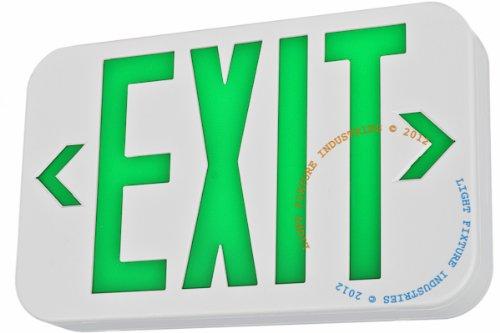Exit Sign, Modern Design - Green LED - White - Battery Backup