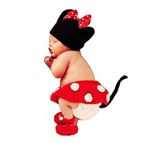 4pcs Set Baby Crochet Minnie Mouse Diaper Skirt Shoes Outfit 0-2 Months
