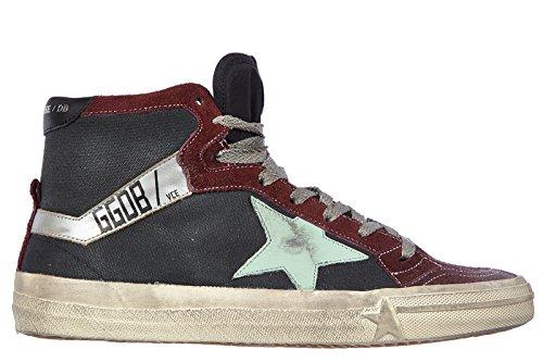 Golden-Goose-zapatos-zapatillas-de-deporte-largas-hombres-en-ante-nuevo-bordeaux