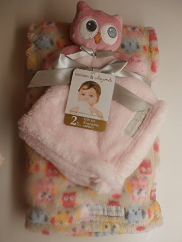 Pink Owl Blanket and Pacifier Holder: Gift Set Ensemble - 1