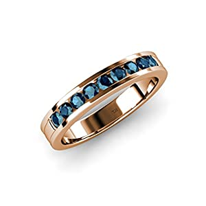 Blue Diamond 9 Stone Wedding Band 0.36 ct tw in 14K Rose Gold.size 4.0