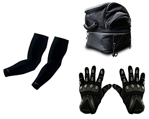 Auto Pearl Premium Quality Bike Accessories Combo Of Arm Sleeve for Protection against Sun, Dust and Pollution Black 2 Pcs. & Pro Biker Magnetic Fuel Tank Bag Motorcycle Helmet Bag with Practical Pockets Water-resistant Shoulder Bag for Driving Riding Traveling Equipment. & Scoyco MC-10 1 Pair of Hand Grip Gloves for Bike Motorcycle Scooter Riding - (Black And White)  available at amazon for Rs.4171