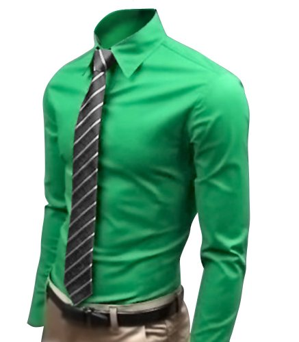 Keral Casual Slim Fit Unique Neckline Stylish Long Sleeve Mens shirts Green XL Picture