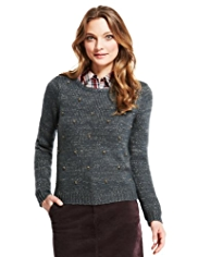 Indigo Collection Clustered Jewel Metallic Jumper