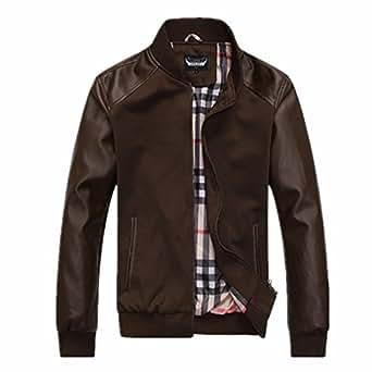 tan faux leather jacket amazon