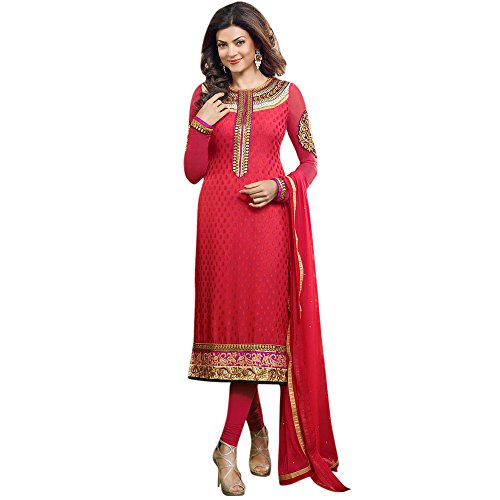 Red Angelnx Women's Unstitched Churidar Suit (Red_Free Size)