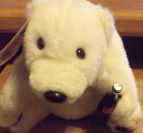 "9"" Plush 1993 Coca-cola Polar Bear with Coke Bottle - 1"