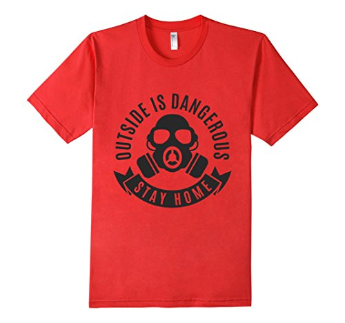 Mens-EmmaSaying-Outside-Is-Dangerous-Mask-Design-T-Shirt-Fun-Tee-Red