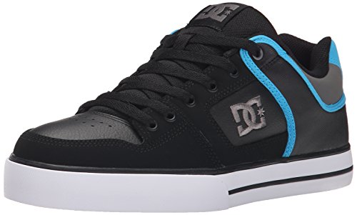 DC Men's Pure Skate Shoe, Black/Grey/Blue, 9 M US
