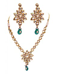 Rubera's Kundan Necklace Set With Emerald Drops