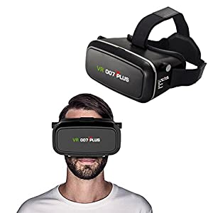 3D VR Glasses, 007plus Virtual Reality Headset for 4.0 - 6.0 inch Smartphones iPhone 6s 6 Plus Samsung Galaxy series for 3D Movies/Games (Black) from 007plus