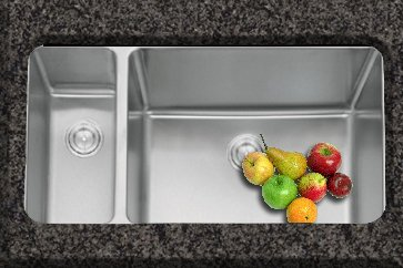Kitchen Sinks Undermount 1.5 Bowl Brushed Steel (D02R)