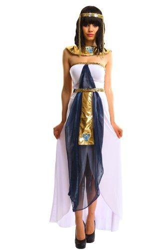 Amour-Sexy Luxus Cleopatra Ägypter Kostüm Halloween Karneval Einheitsgröße passt für XS zu M (petite, v3204:weiß/grau)